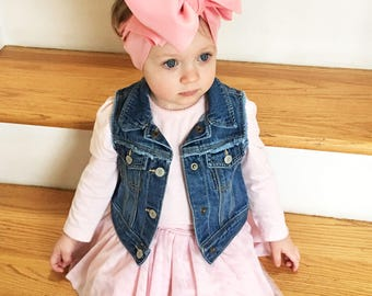 Pink Knit Headwrap- Headwrap; Stretchy Headwrap; Baby Headband; Toddler Headband; Baby Headwrap; Toddler Headwrap; Stretchy Head Wrap