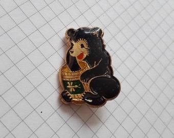 Soviet Vintage Bear pin/badge, Collectible, Cartoon animal, 1980's, USSR