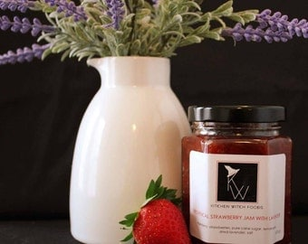 Strawberry Jam with Lavender, Strawberry Jam, Lavender, Gift for Her, Mother's Day Gift, Gift Hostess, Strawberry Preserves