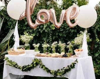 """Love Foil Balloons 30"""" - Rose Gold Balloon Silver Balloon"""
