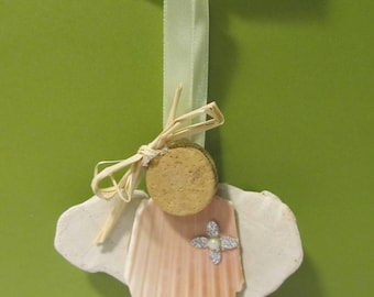 Shell wine cork angel Christmas ornament holiday gift tag bottle charm OOAK sweet with bow, sand dollar wings and bow