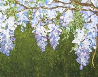 bird - bluebird - wisteria - purple - blue - painting