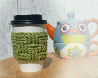 Green Crochet Cup Sleeve - Springtime Basketweave Everyday Cup Sleeve in Froggy