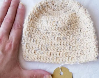Fuzzy Yellow Baby Hat - Newborn Crocheted Birdseed Baby Beanie