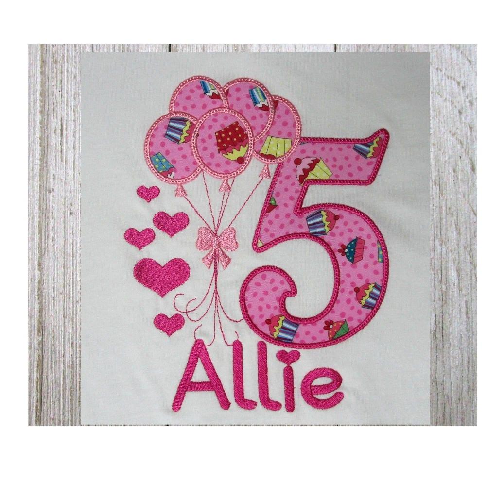 Th birthday applique machine embroidery design balloons