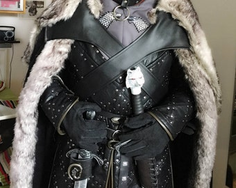 Game of Thrones-style Jon Snow fur cloak with faux fur trim and fur back