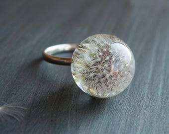Terrarium jewelry Silver ring 925 Resin jewelry Resin rings Botanical jewelry Nature ring Dandelion jewelry Resin jewelry dandelion seeds