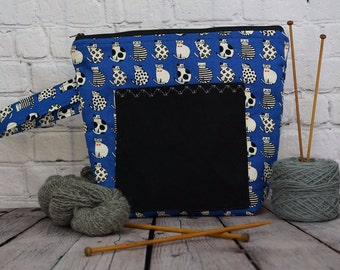 Cat project bag in blue,  Large Zipper project Bag, Knitting project bag, Crochet project bag, Project Tote