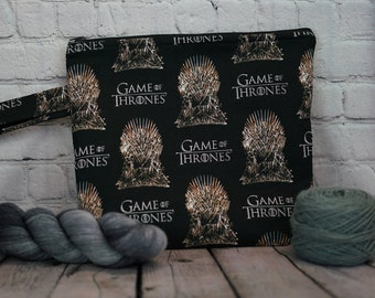 Game of Thrones Small Project bag, Knitting project bag, Crochet project bag,  Zipper Project Bag, Yarn bowl, Yarn tote