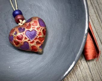 Polymer Clay Heart Pendant, Pendants For Women, Valentines Heart, Handcrafted Hearts, Polymer Heart Art Beads, Purple Red Gold, Unique Beads