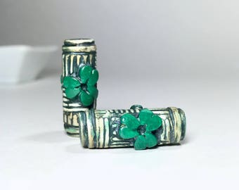 Polymer Clay Clover Beads, Green Clover Tube Beads, Shamrock Beads, St. Patrick's Day Beads, Irish Beads, Handmade Beads, Jewelry Supplies