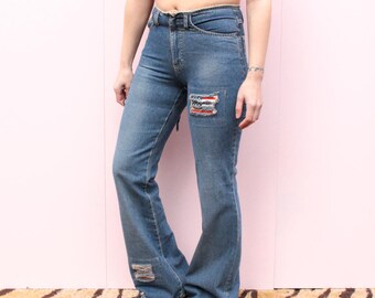 Vintage 90's Flared American Patch Jeans