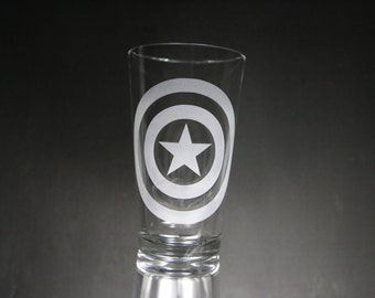 Captain America, Avengers, Shield, Etched Glass, Unique Gift, Glassware, Personalized Gift