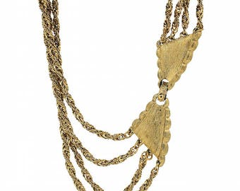 Monet 1970s Rope Chain and Bow Clasp Vintage Necklace