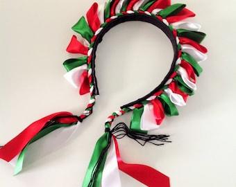 Mexican Headband Red Green and White Satin Headband Colorful Satin Crown Frida Kahlo Headband Mexican Tiara
