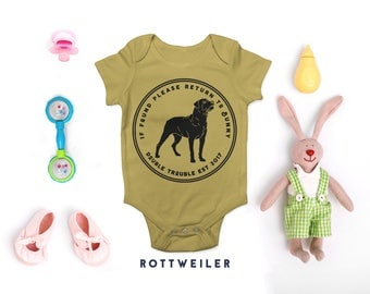 Rottweiler Customised Babygrow, If found please return to ... Double Trouble est 2017