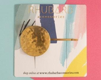 Hammered hair clip - gold hair slide - circle hair pin - bridal headpiece - geometric hair slide - best friend gift - birthday present-KALNI