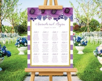 Wedding seating chart, bohemian rustic wedding, seating plan, purple and gold, hibiscus watercolor, personalize seating plan