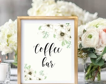Wedding Coffee Bar Sign, Printable Wedding Sign, Drink Table Sign, Wedding Decor Sign, Floral Watercolor, Watercolor Anemone #A001