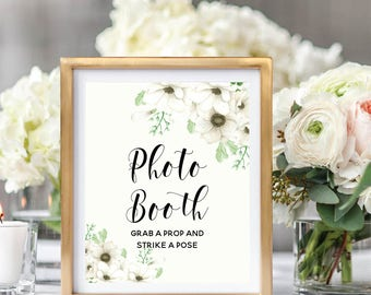 Photo Booth Sign, Wedding Photo Booth, Photo Booth Sign Printable, Grab A Prop, Floral Watercolor, Watercolor Anemone #A001