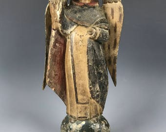 19th Century Carved Wood Religious Saint Vicente Ferrer Statue