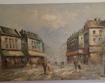 Original Street Scene Oil Painting by Meison