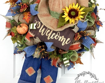 Scarecrow Wreath, Fall Wreath Deco Mesh, Fall Wreath for Front Door, Welcome Wreath for Front Door, Fall Mesh Wreaths, Scarecrow Decoration