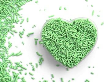 Mint Green Crunchy Jimmies™, crunchy sprinkles, skinny sprinkles,sugar strands, fancy sprinkles, pastel green sprinkles, mint green jimmies