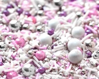 Material Girl Sprinkle Blend, Holiday Sprinkles, Pastel Pink & Purple Sprinkles, Silver Dragees, Crunchy Sprinkles, Edible Dragees