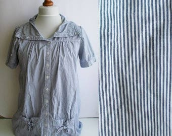 Vintage Nautical Shirt, Vintage Striped shirt, Sailor shirt, Cotton shirt, Blue and white, Womens nautical shirt, Striped blouse, Size M