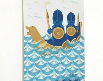 Danish viking scandinavian wall hanging banner, art print, canvas, picture.