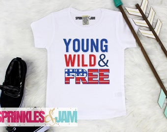 Baby Boy Clothes, 4th of July Shirt, Young Wild And Free, Kids 4th of July Shirt, Patriotic Shirt, Kids Patriotic Shirt