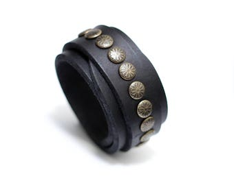 Artisanal Handmade Accessory | Geometric Star Studded Vegan Friendly Black Leather Cuff Bracelet with Distressed Solid Brass Buckle