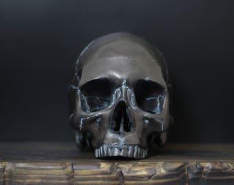Ye Olde Copper Queen - Distressed Antique Dark Copper Full Scale Life Size Realistic Faux Human Skull Replica / Art / Ornament / Home Decor