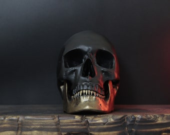 The Gold Jaw - Matte Black & Antique Gold Life Size Realistic Faux Human Skull Replica with Removable Jaw / Art / Ornament / Home Decor