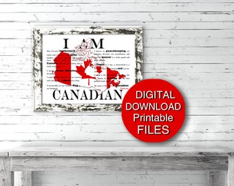 Canada 150 - I am Canadian Poem - Digital Download Map Canada Day 5x7 8x10 11x14 16x20