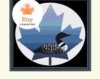 Loon on Maple Leaf - Canada Cross Stitch Pattern