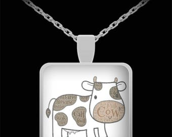 """Adorable Cow Pendant with Necklace! Ideal gift for the cow lover in your life!! Wear him proudly on 22"""" silver plated necklace!"""