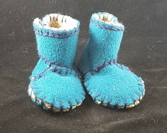 Warm, wool, hand-stitched baby booties