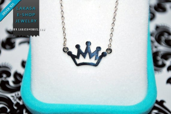 Crown Chain Necklace Sterling Silver white Gold-plated Fine Greek Art Jewelry Love Mother day Girl Princesa Regina Valentine Queen Princess