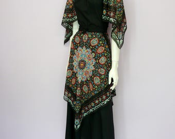 Eur 34 / US 4 / UK 6 // Vintage full length black 70's dress // Margita // Swedish design // maxi // bohemian