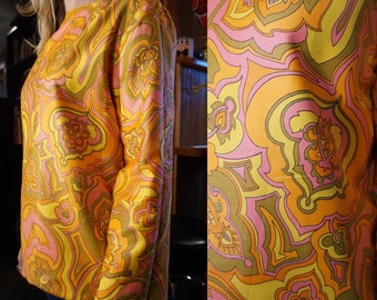 True Vintage Large 1960s Trippy Psychedelic Hippie Print Blouse Shirt Top Cotton Large Pink Orange Yellow and Green