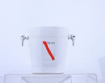 White champagne bucket for MUMM, limited edition, 1980s wine cooler, ice bucket
