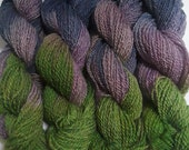 Lot 98, Worsted Handspun Wool Yarn, Merino x Romney - Lavender, Navy, Green