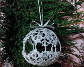 "Lace Crochet Ball ""Hoarfrost"", Christmas Ball, Christmas Decor, Handmade Idea."