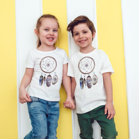Feathers Dreamcatcher | Unisex kids T-shirt | American apparel for children and toddlers | original watercolor artwork |graphic native tee |