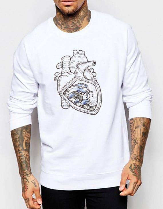 Ocean heart | Unisex Heavy Blend Crewneck Sweatshirt | Graphic Sweatshirt | Pen and Ink art| Tattoo Style| original artwork| Waves |ZuskaArt