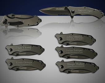 6 Personalized Knife set - 6 Custom engraved Gun Metal Tactical knife - Titanium coated laser engraved gift - Birthday gift or wedding gift