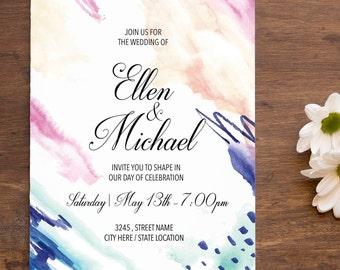 Digital Wedding Invitation / Watercolor Invitation / Digital or Printed / Modern Wedding Invite / Modern Wedding Invitation
