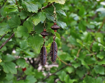 Recycled beads and feather earrings
